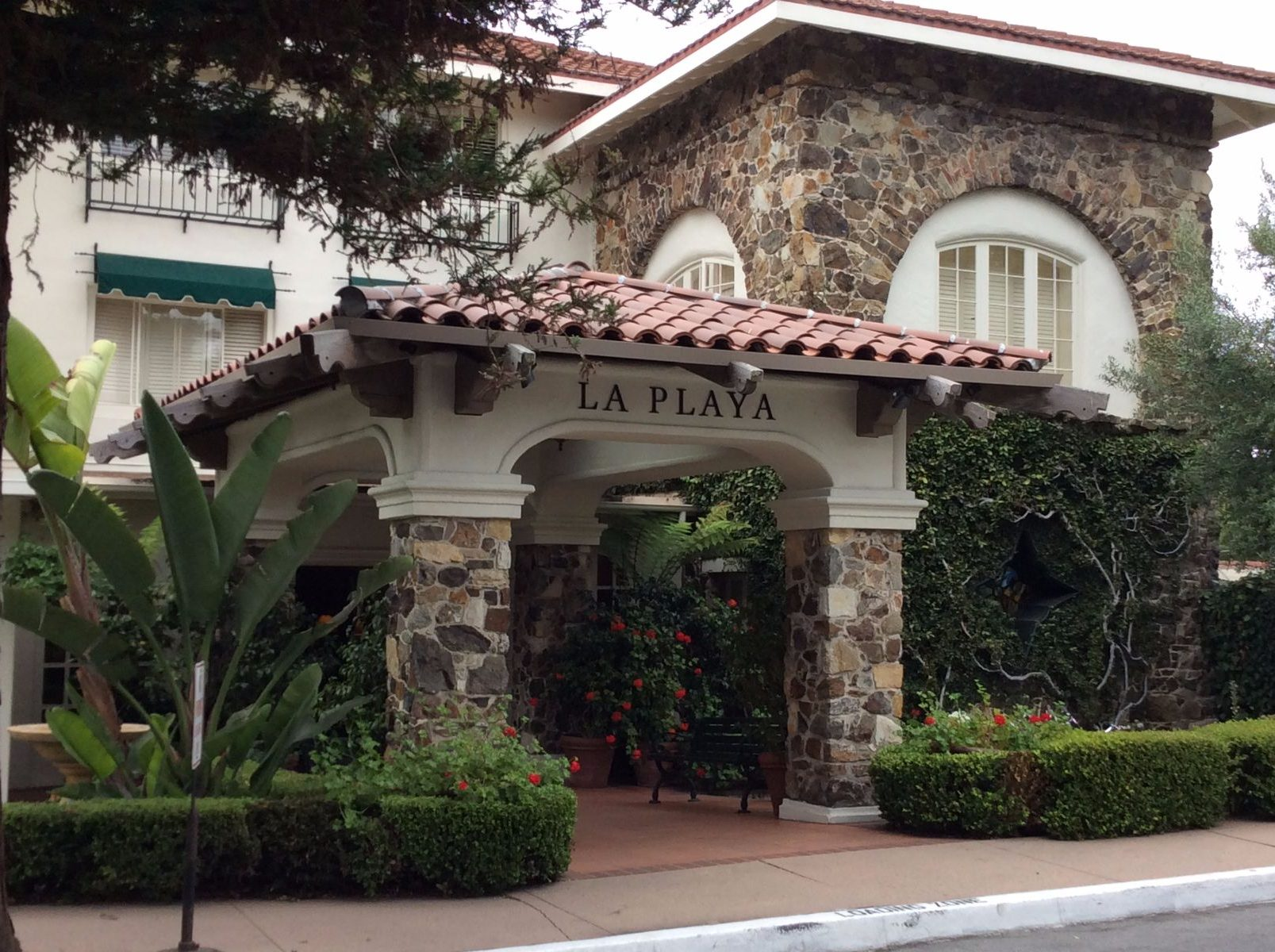 La Playa Carmel Historic Hotel Entrance on Camino Real in Carmel by the Sea, Ca