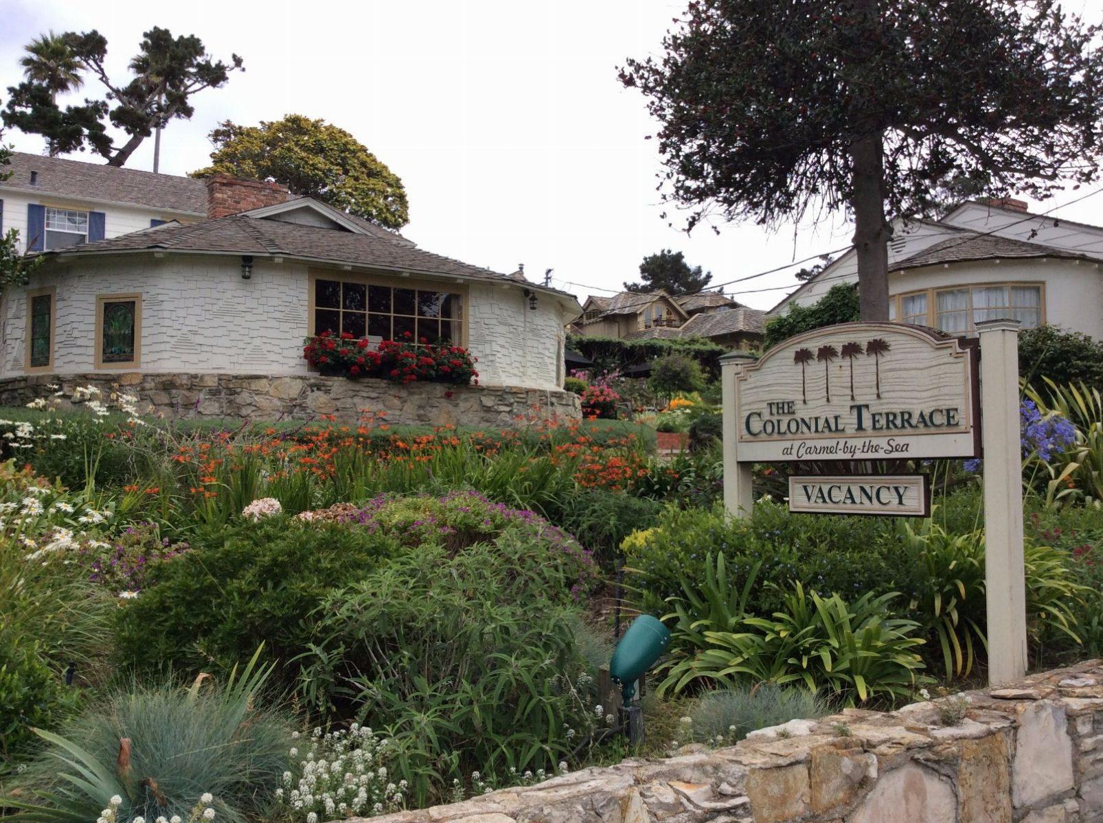 The Colonial Terrace Inn Award Winning Garden on San Antonio and 13th St Beach in Carmel, Ca 93921