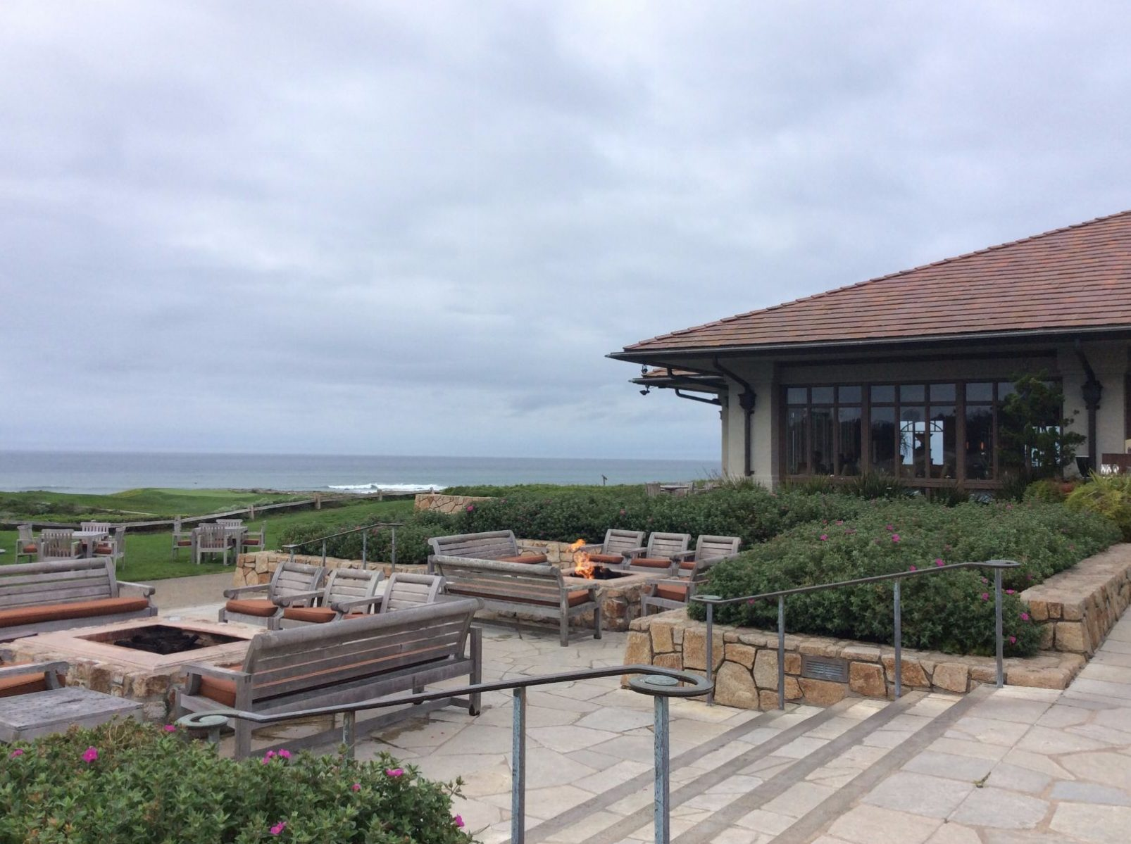 Inn at Spanish Bay Firepit with Oceanview on Patio where Bagpipes Play